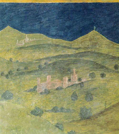 Ambrogio Lorenzetti - La Val d'Orcia (Gli Effetti del Buono Governo nel contado), dettaglio - affresco - 1338-1339 - Siena - Palazzo Pubblico, Sala dei Nove o Sala della Pace