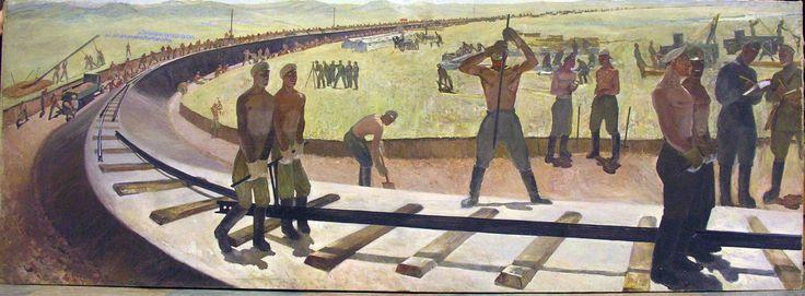 Николаев К.В. Прокладка железнодорожного пути в Магнитогорске. 1930