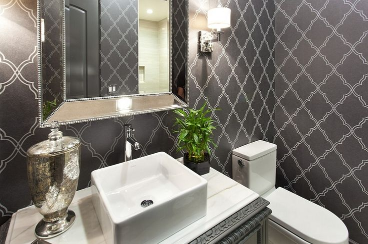 Gorgeous Wallpaper Ideas for Your Powder Room --- Smart wallpaper gives the powder room a timeless look
