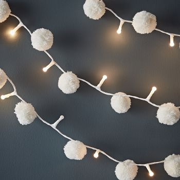 Pom Pom Galore Pom Pom Fairy Lights - Trouva  This would be fun on my indoor citrus trees.