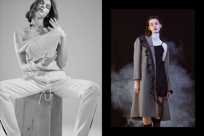 Left: top by Jil Sander, sweatpants by Michael Michael Kors, necklace by Saskia Diez Right: sweater by Hugo Boss, dress by La Perla, coat by Miu Miu