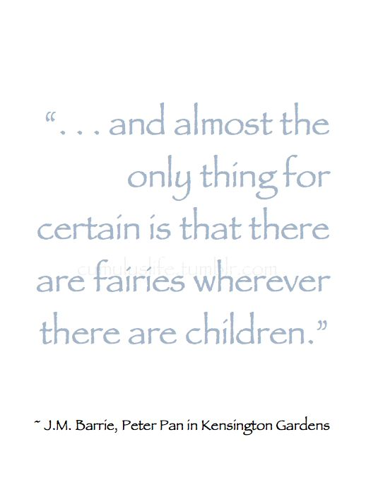"Winter *❄~*.Wishes & Dreams.*~❄*  "". . . and almost the only thing for certain is that there are fairies wherever there are children."" ~ J.M. Barrie, Peter Pan in Kensington Gardens #Fairies_Quote"
