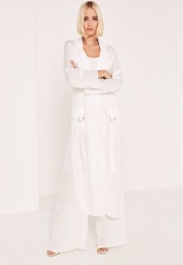 White Parachute Pocket Satin Duster Coat