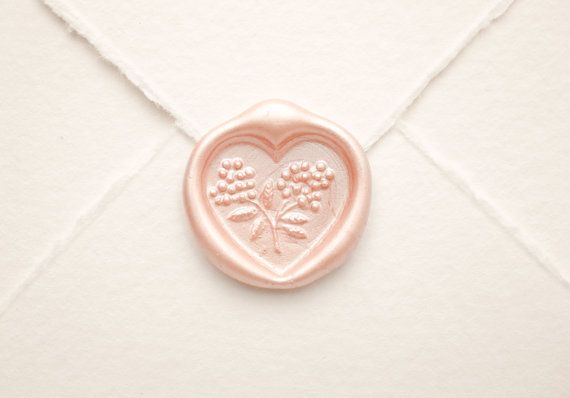 Kiss Me Heart Wax Seal Vintage Shabby Chic by VenusEnvyPaper