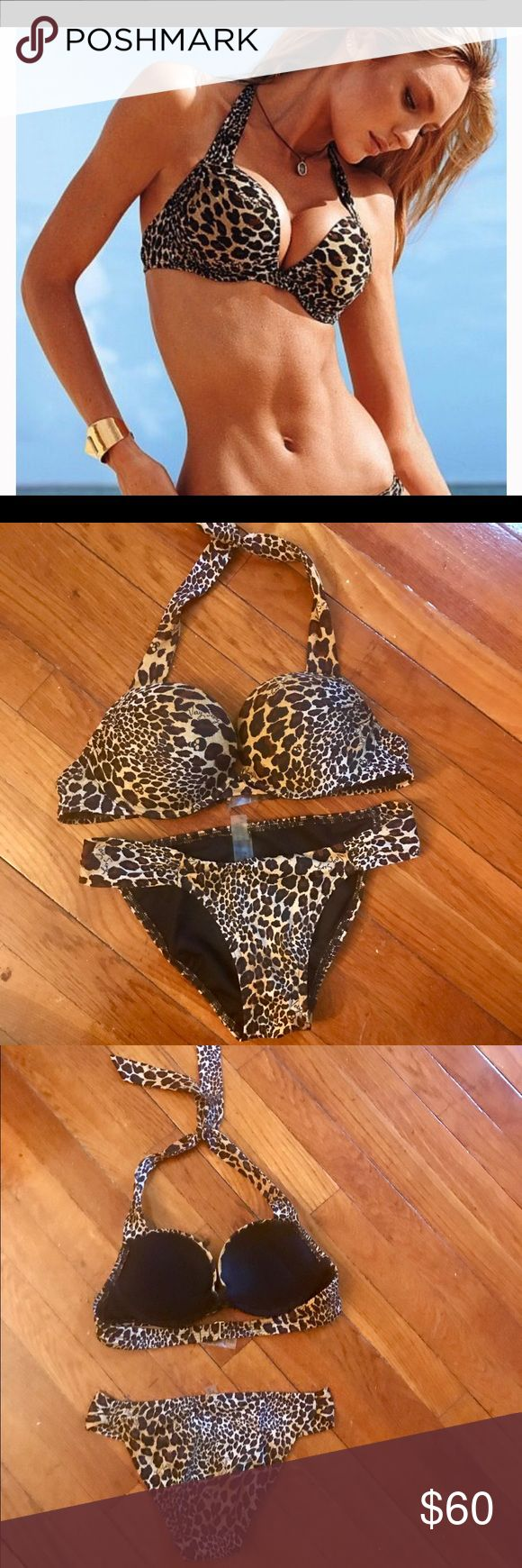 VS bikini set, NWOT padded leopard print very sexy Super padded Victoria secret swimsuit from the very sexy line. Xs bottoms and 34a top. NWOT Victoria's Secret Swim Bikinis