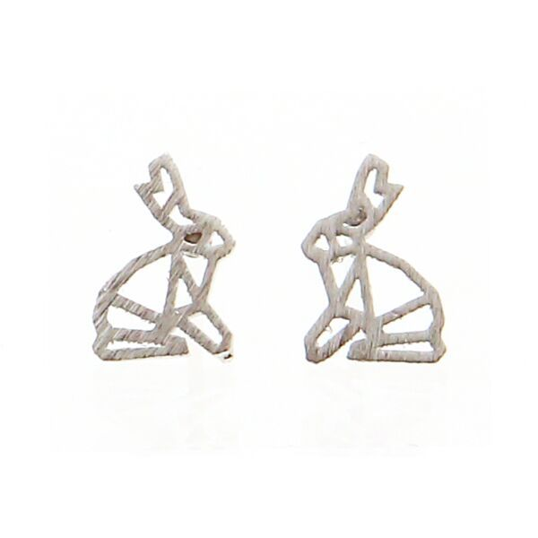 Origami Rabbit Silver Stud Earrings by Pigeonhole. http://aslanandleo.com/product/origami-rabbit-silver-stud-earrings-by-pigeonhole/
