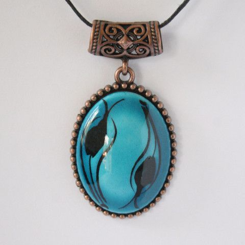 Turquoise Black Ottoman Tulip Design Ceramic Necklace