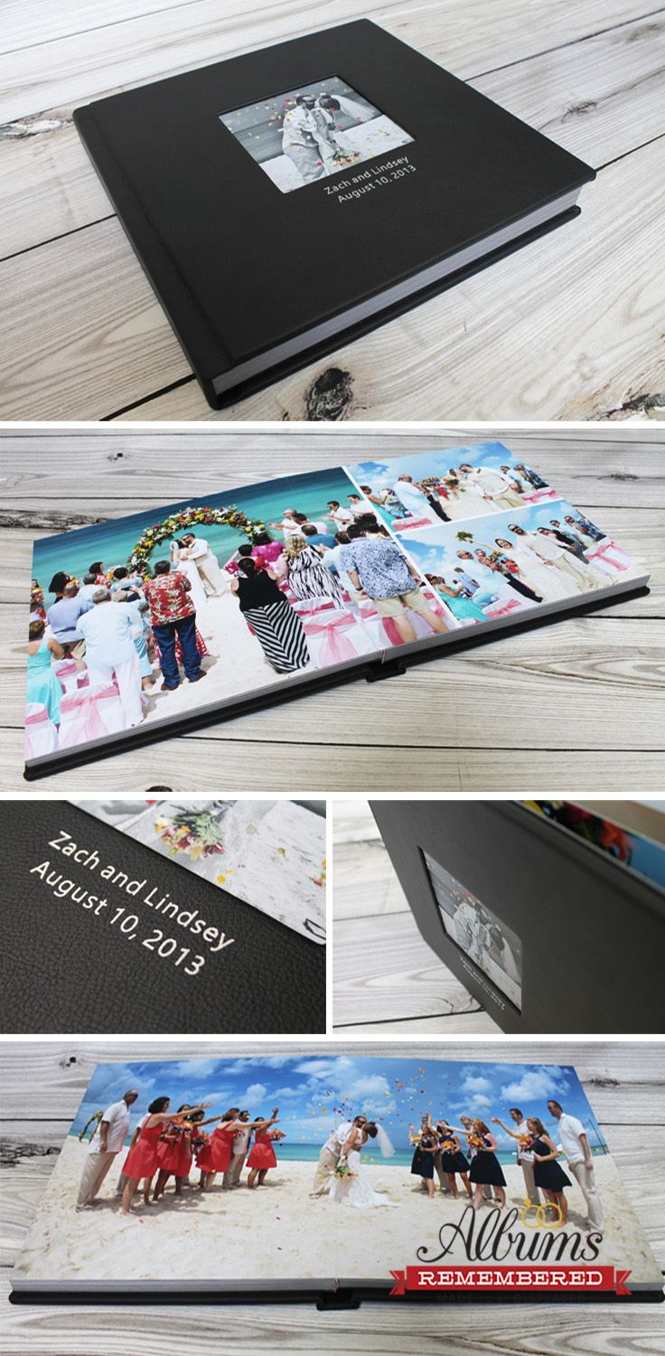 www.albumsremembered.com  Wedding photo book/Classic black leather wedding album with cut-out window. Prices start at $350 including design with unlimited revisions.