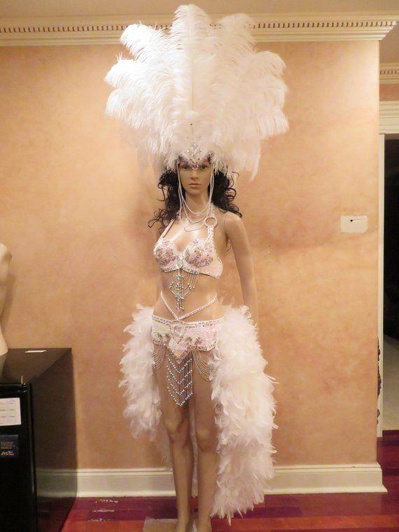 Dress Cabaret Showgirl Vegas Costume Feather Gown Vavavoom Dancer Show New Blue
