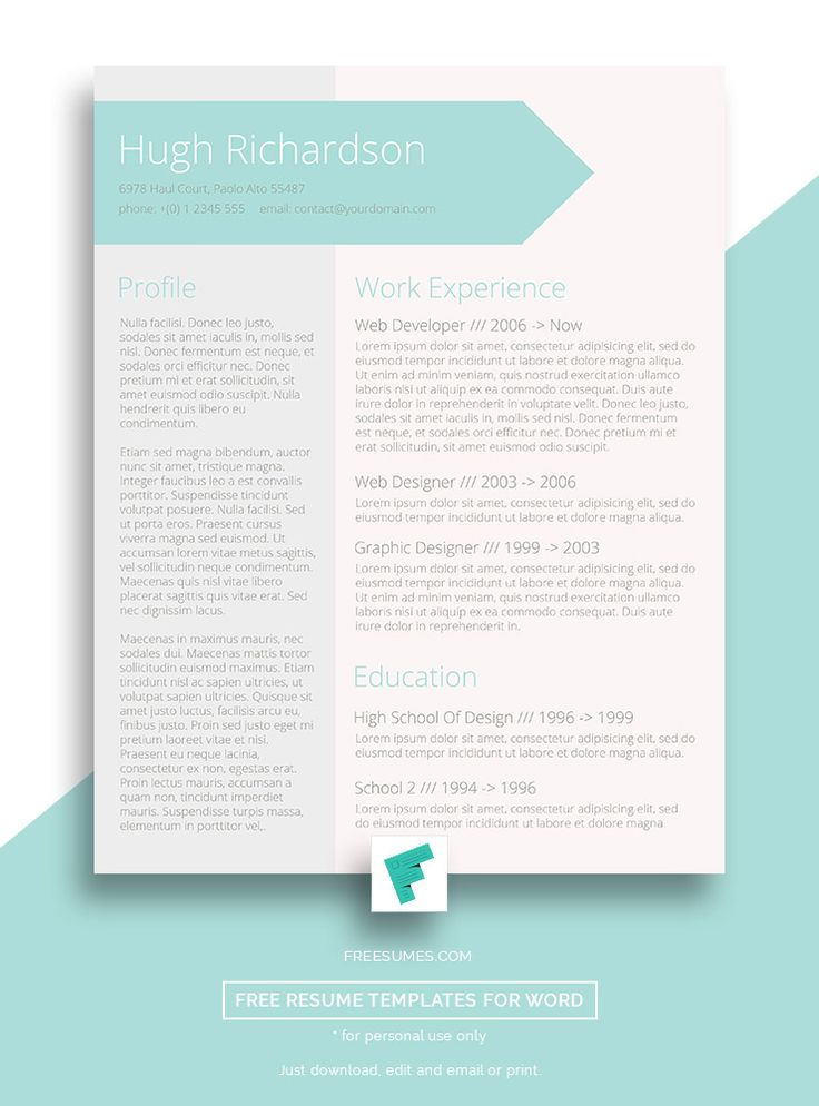 102 besten Free Resume Templates For Word Bilder auf Pinterest ...