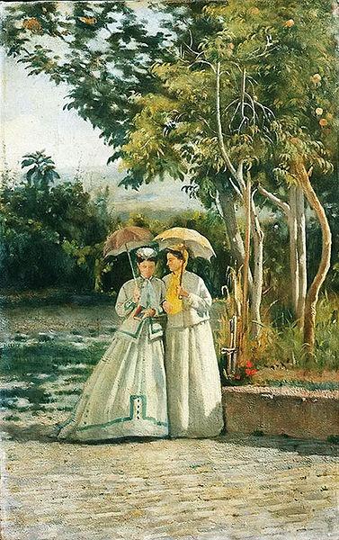 A Walk in the Garden by Silvestro Lega.