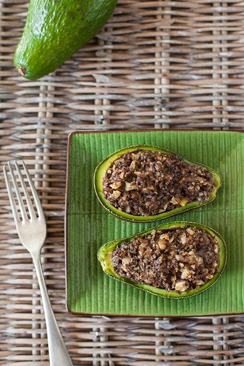 Greek Vegetarian: Baked, Stuffed Avocados with Mushroom, Walnut, Feta and Thyme (Papoutsakia Tou Avokado)