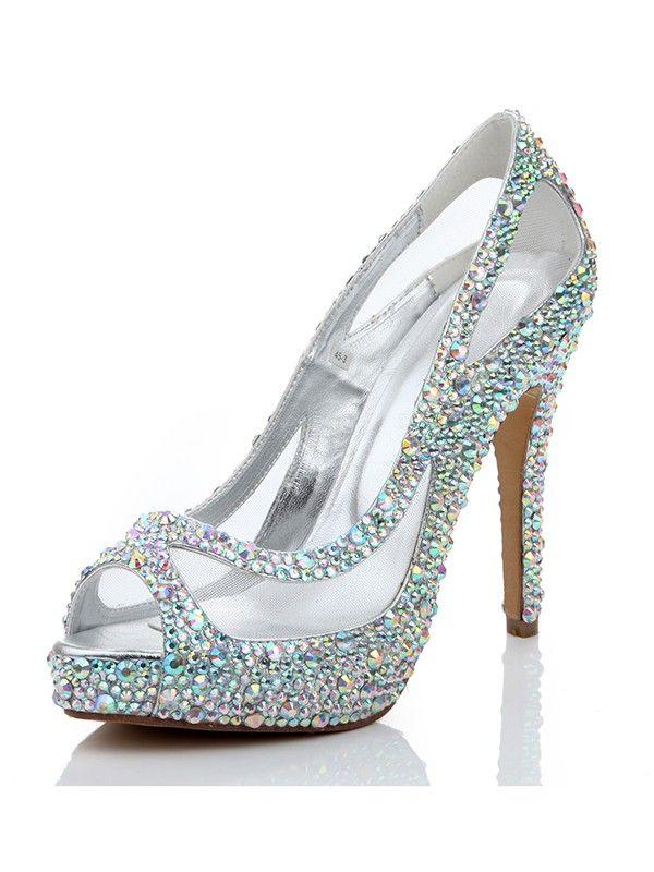 Sheepskin Diamond Net Satin Peep Toe High Heels