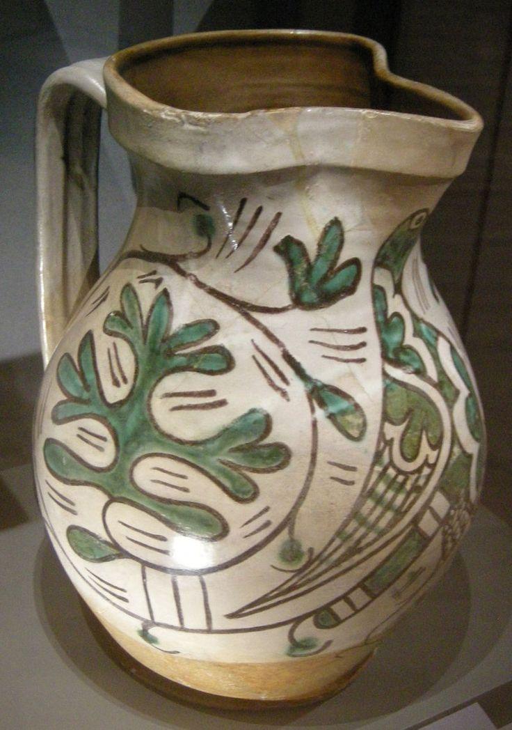 Ngv, maiolica di orvieto o viterbo, brocca, 1300-1360.JPG