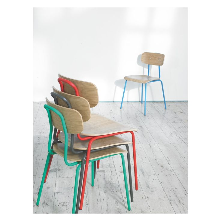 HESTER stackable dining chair - love these. They come in blue, green, red and charcoal.