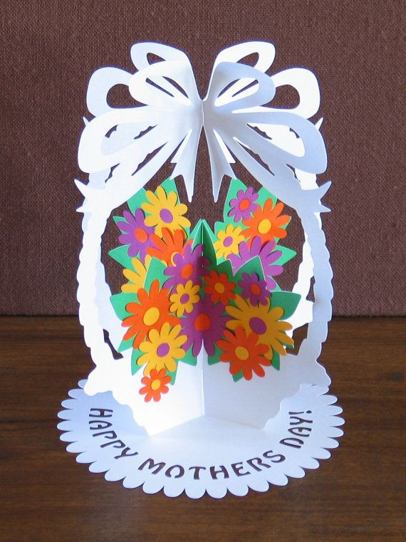 Papercutting Template A5  DIY Flower Basket Paper by NineFingerJo