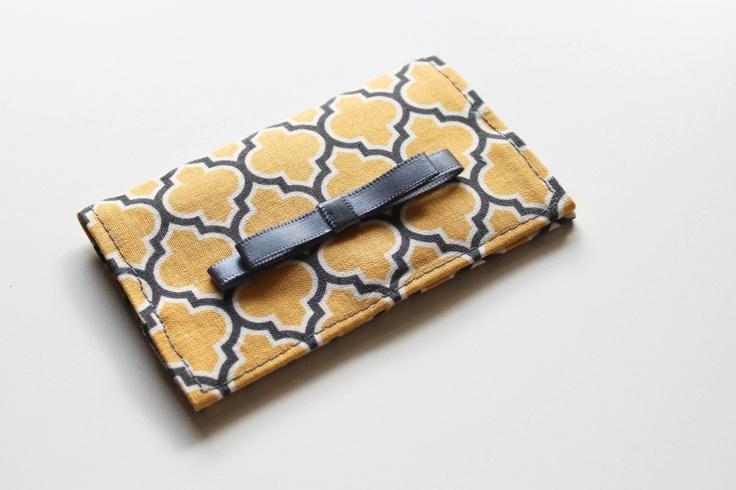 Porte carte bleue, carte de visite - Moutarde & gris