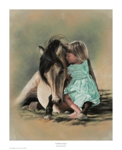 .: Hors Paintings, Little Girls, Lesley Harrison, Harrison Art, Art Prints, Artista Cor-De-Rosa, Hors Art, Animal Painters, Childhood Magic
