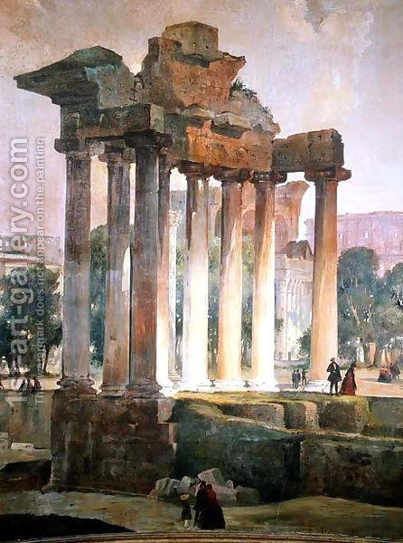 The Ruined Temple of Saturn in The Roman Forum by T. Caffi