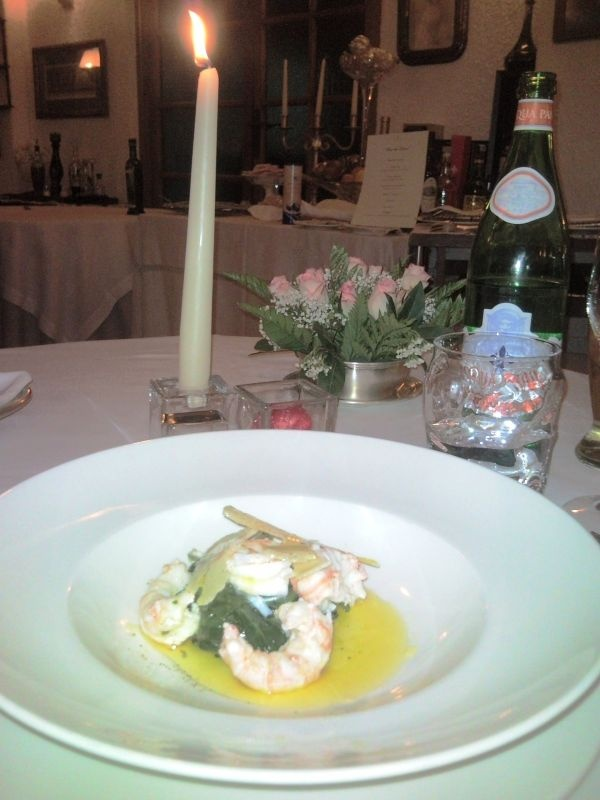"""Boiled chard, covered shrimp with lemon, parmesan cheese and EVOO Grand Cru """"Per Liliana"""""""