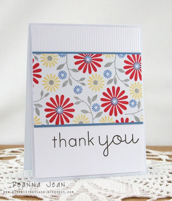 Lovely Thank You Card From Kloset Kreations ColourQ Great Design To Show Off Some Pretty Paper This Is Handmade Patterned