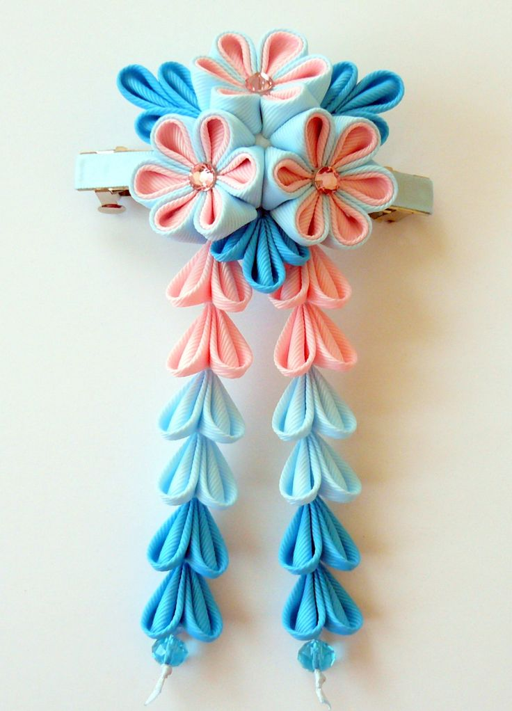Kanzashi fabric flower french barrette. Pink blue and by JuLVa