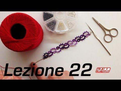 ▶ Chiacchierino Ad Ago - 22˚ Lezione Bracciale Con Perline Bijoux Tutorial Come Fare Needle Tatting - YouTube
