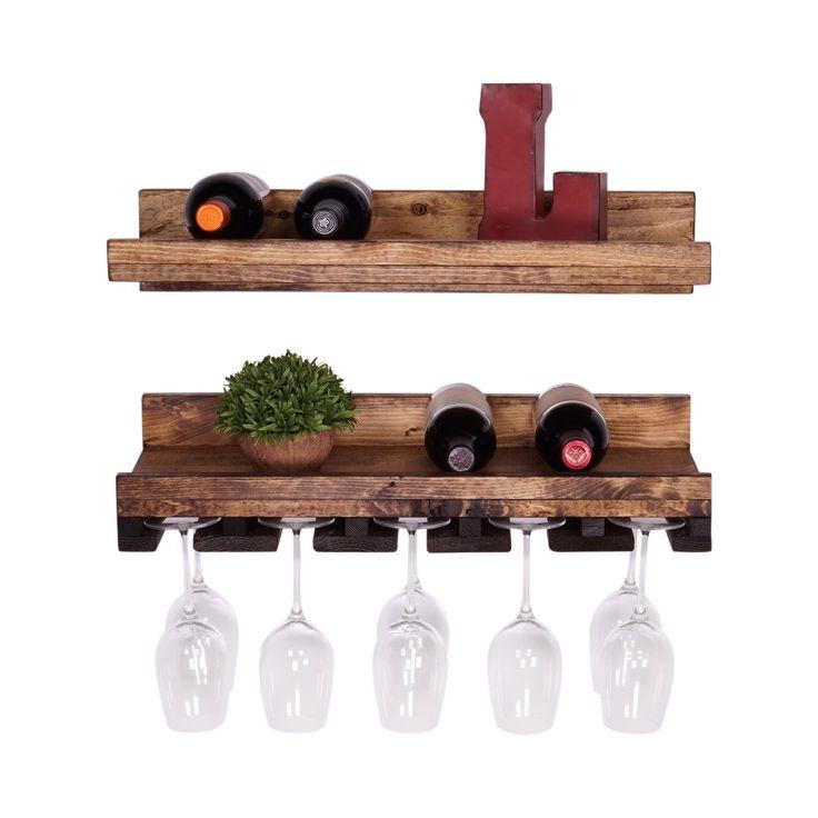 DAKODA LOVE - Rustic Luxe Floating Wine Shelf & Glass Rack Set, USA Handmade, Pine Wood (6H x 24W x 10D, Dark Walnut)