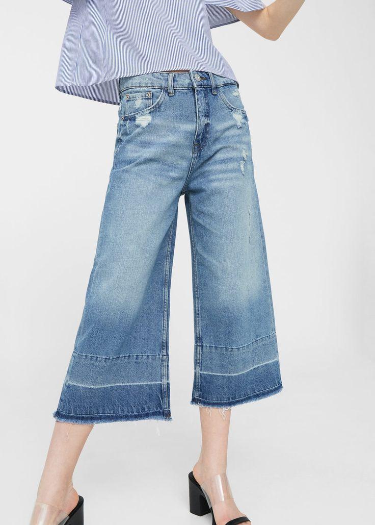 Spodnie dżinsowe flare crop | MANGO