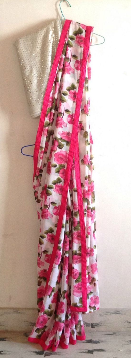 Off white printed georgette saree with hot pink trim and sequin blouse by GiaExquisiteIndian on Etsy