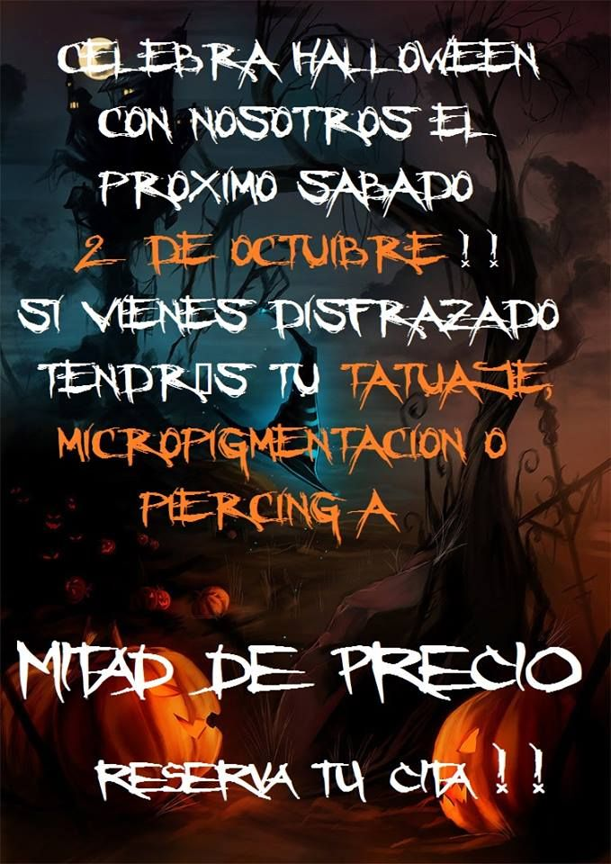 En Logia Barcelona celebramos Halloween el próximo sábado 2 de Octubre. Si vienes disfrazado tendrás un 50% de descuento en tu tatuaje, Micropigmentación y Piercing además de otras sorpresas. No tengas miedo y atrévete a visitarnos !!!