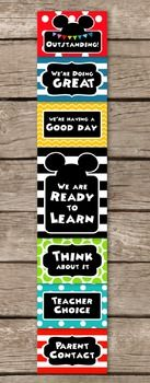 BEHAVIOR CLIP CHARTA fun Mickey Mouse Clubhouse inspired behavior chart. Large polka dots and bold stripes adorn bright colorful backgrounds.This clip chart is a wonderful way to positively promote and manage student behavior in the classroom.The large center card is 8.5 x 11 inches and fits on one sheet of paper in portrait orientation.