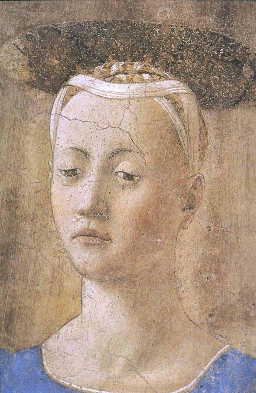 Piero della Francesca, Madonna del Parto (detail), detached fresco, 203 cm, Museo della Madonna del Parto, Monterchi