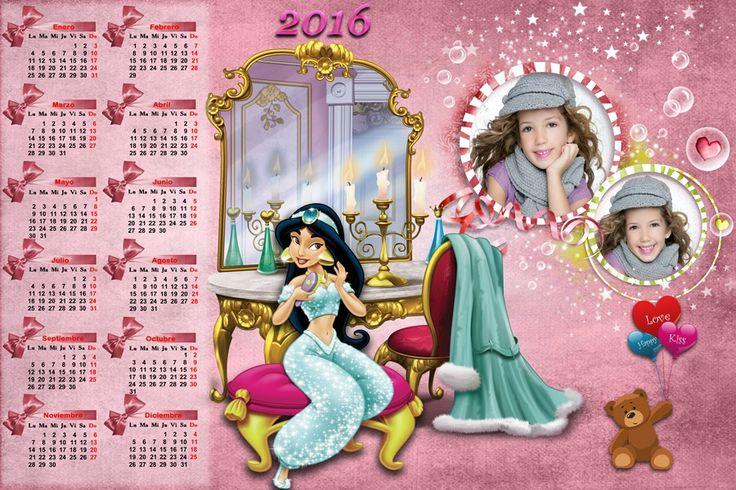 Calendarios para Photoshop: Calendario para el 2016 de la princesa Jazmín para...