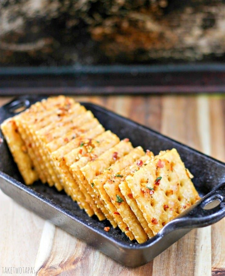 These spicy and crispy crackers are light and flaky with a little kick to them. they are so addicting and they will keep you coming back for more! Comeback Crackers Recipe   Take Two Tapas