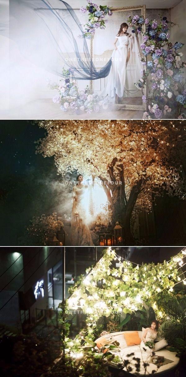 Bridal Pose Ideas From These Stunning Korean Studio Pre-wedding Photoshoot Sets - May Studio, Elegant, Brides, Floral, Night, Indoor, Outdoor