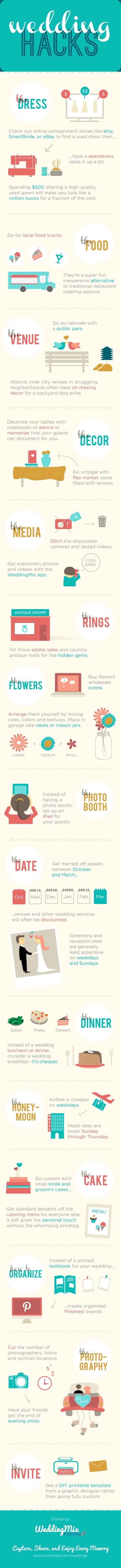 DIY Wedding Ideas | Cool Hacks for DIY Weddings on a Budget - cheap ideas and budget tips [ Infographic ] save money on wedding, frugal wedding ideas #wedding #frugal