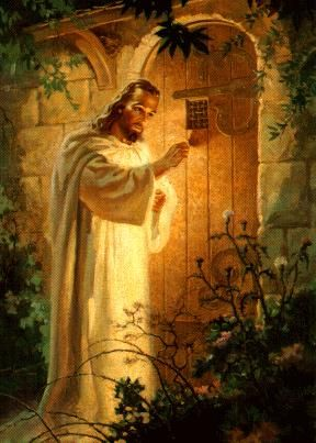 """Memories of this painting from my childhood.  He's saying, """"Behold, I stand at the door and knock.""""  Notice there is no latch on the outside of the door...because He will NEVER barge in uninvited.  But if He's earnestly invited in, the person on the other side will gladly open the door for Him to enter & He's Happy to Enter the Dwelling Place in your Heart Forever."""