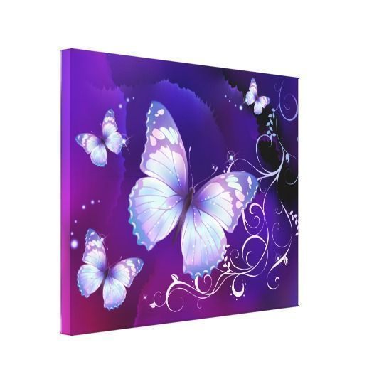 Purple home decor is absolutely adorable no matter if you like pale purple, lavender, lilac, magenta or violet purple home decor.  A purple themed home is easy to achieve by using purple wall art, purple throw pillows, purple throw blankets and purple area rugs.  Use this along with other purple wall art to create a relaxing, funky home decor theme #purple  Lavender Butterflies Canvas