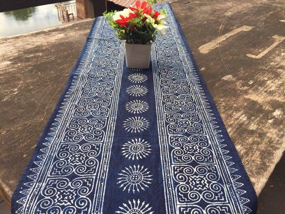 Hey, I found this really awesome Etsy listing at https://www.etsy.com/listing/490057826/85-table-runner-in-hmong-indigo-batik