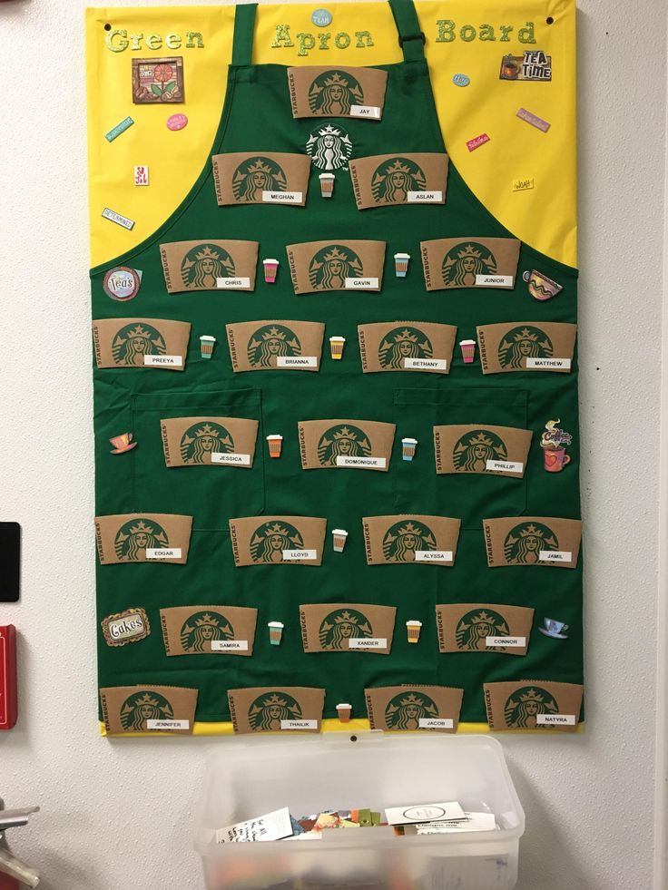 One of my shifts made a green apron board yesterday too #starbucks #coffee #love #frappuccino #latte #tea #yummy #gift