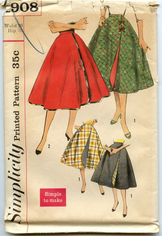 1950s vintage sewing pattern Simplicity 1908. © 1956. Misses Wrap-Around Skirt. Simple-to-make wonder-wrap skirt... reversible and as changeable as your mood. Skirt is circular and View 1 is always faced with contrasting fabric. Waistband fastens with hooks and eyes. View 1 may have ties at front opening. Outer edges of skirt in View 2 are bound in military braid or bias binding. Novelty pin may be worn at front opening.