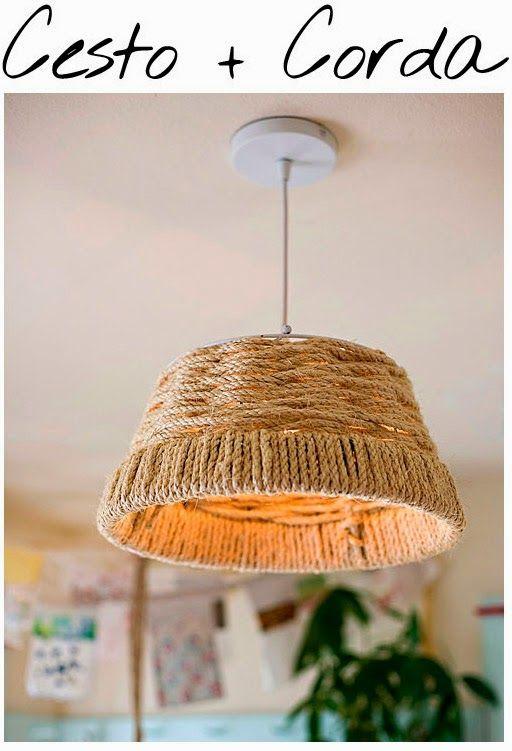 Luminárias criativas! Olha aí a mesma ideia usando cesto aramado e corda de sisal. Tem até passo a passo no Blog das Gurias!