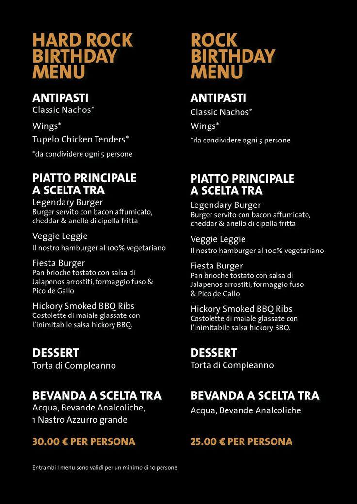 Hard Rock Cafe Venice Menu