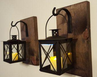 Coppia di lanterna nero 2 con ganci in di PineknobsAndCrickets