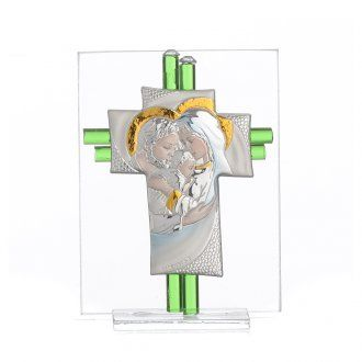 Bonbonniere Wedding Holy Family aquamarine Murano glass 10,5cm | online sales on…