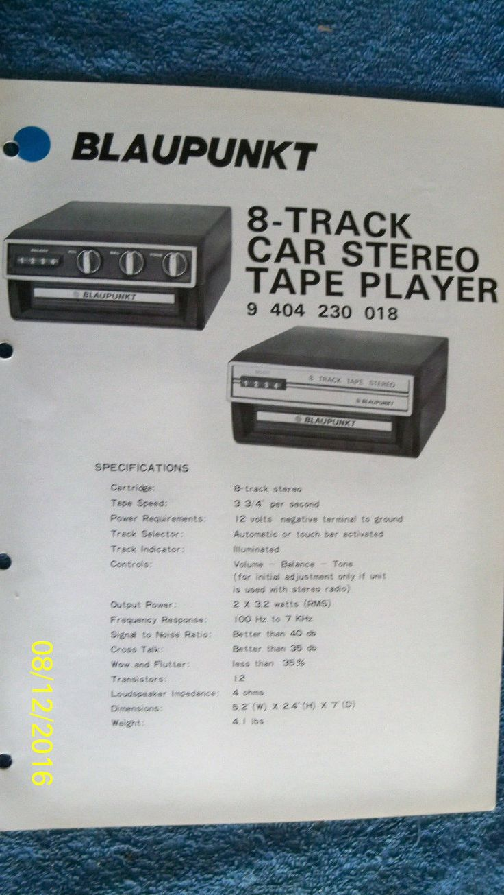 Blaupunkt car audio service manual 8 track tape player 9 404 230