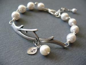 Initial Bracelet Pearl Bracelet Branch Bracelet: Pearls, Pearl Bracelets, Bridesmaid Gifts, Initial Bracelet, Graduation Gifts, Bracelet Branch