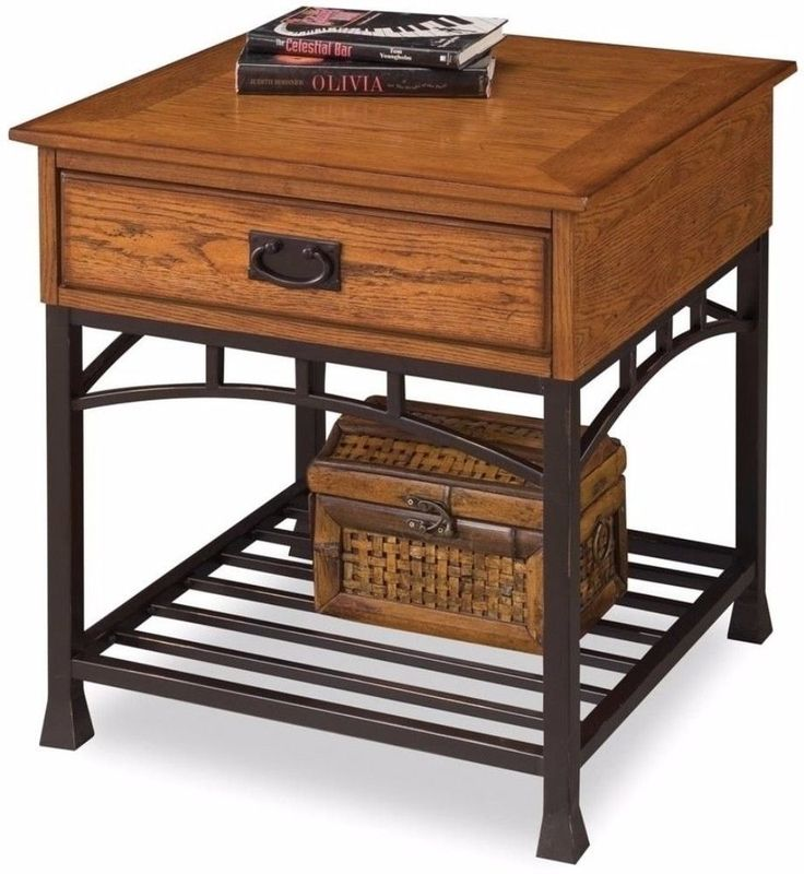 Home Styles Modern Craftsman Distressed Oak End Table with Storage Drawer #HomeStyles