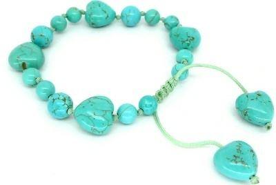 Lola Rose Jewellery - Natural Blue Howlite Ruthie Heart Gemstone Bead Bracelet